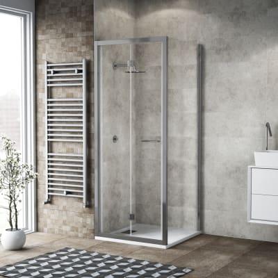 Box doccia pieghevole 95 x 80 cm, H 195 cm in vetro, spessore 6 mm trasparente argento