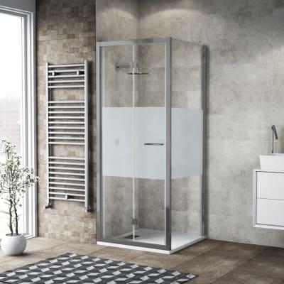 Box doccia pieghevole 75 x 80 cm, H 195 cm in vetro, spessore 6 mm serigrafato argento