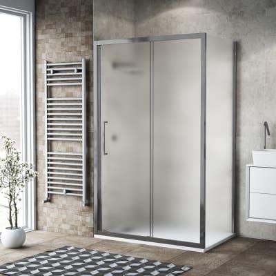 Box doccia scorrevole 135 x , H 195 cm in vetro, spessore 6 mm spazzolato argento