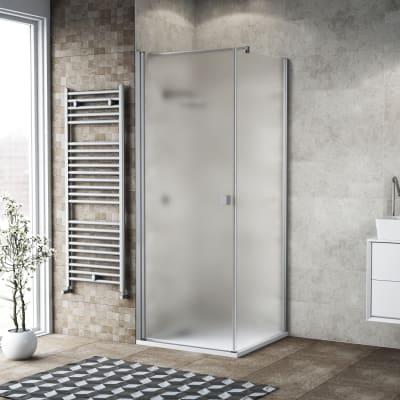 Box doccia battente 80 x 80 cm, H 200 cm in vetro, spessore 6 mm spazzolato argento