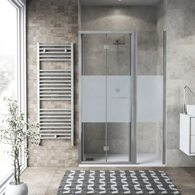 Box doccia pieghevole 120 x 70 cm, H 195 cm in vetro, spessore 6 mm serigrafato argento