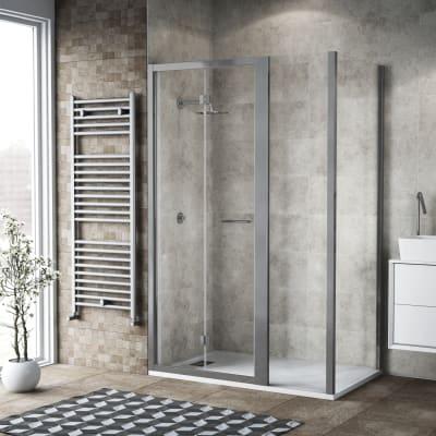 Box doccia pieghevole 115 x 80 cm, H 195 cm in vetro, spessore 6 mm trasparente argento