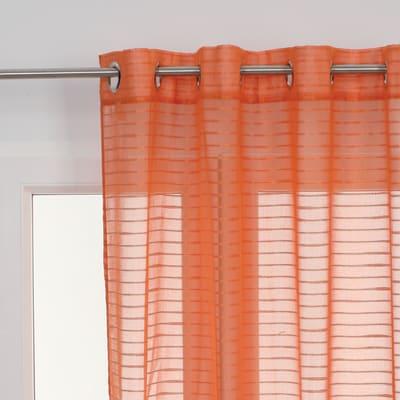 Tenda Righe orizzontali arancione occhielli 140 x 280 cm