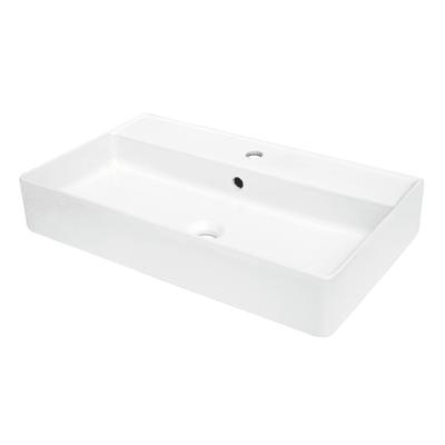 Lavabo da appoggio Rettangolare Easy in ceramica L 71 x P 41.5 x H 12.5 cm bianco