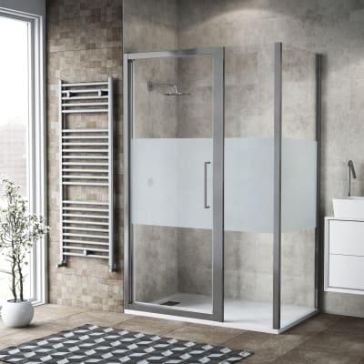 Box doccia battente 125 x 80 cm, H 195 cm in vetro, spessore 6 mm serigrafato argento