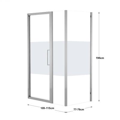 Box doccia battente 115 x 80 cm, H 195 cm in vetro, spessore 6 mm serigrafato argento