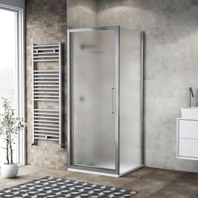 Box doccia battente 85 x , H 195 cm in vetro, spessore 6 mm spazzolato argento