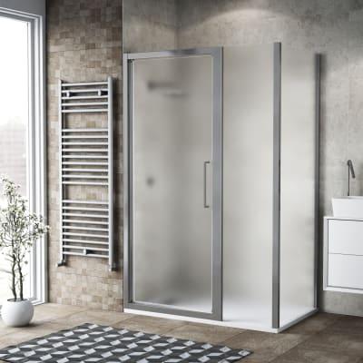 Box doccia battente 120 x 80 cm, H 195 cm in vetro, spessore 6 mm spazzolato argento