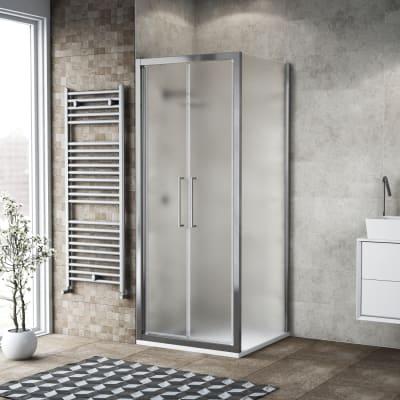 Porta doccia 80 x , H 195 cm in vetro, spessore 6 mm spazzolato argento
