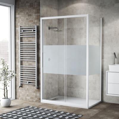 Box doccia scorrevole 145 x , H 195 cm in vetro, spessore 6 mm serigrafato bianco