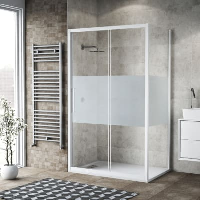 Box doccia scorrevole 170 x 80 cm, H 195 cm in vetro, spessore 6 mm serigrafato bianco