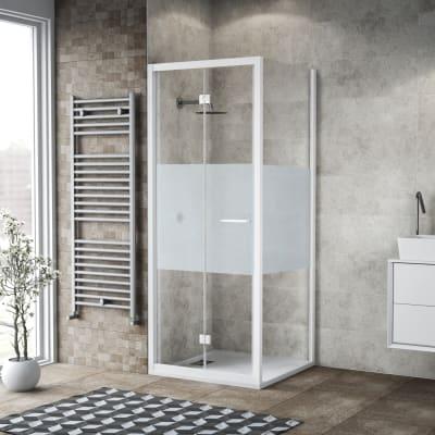 Box doccia pieghevole 100 x 80 cm, H 195 cm in vetro, spessore 6 mm serigrafato bianco