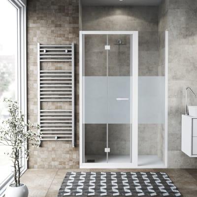 Box doccia pieghevole 140 x , H 195 cm in vetro, spessore 6 mm serigrafato bianco