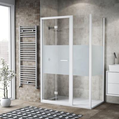 Box doccia pieghevole 115 x 80 cm, H 195 cm in vetro, spessore 6 mm serigrafato bianco