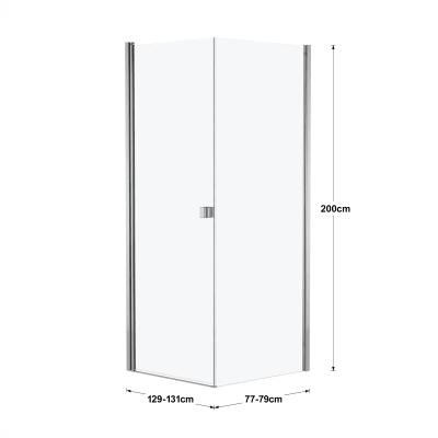 Box doccia battente 90 x 80 cm, H 200 cm in vetro, spessore 6 mm spazzolato cromato