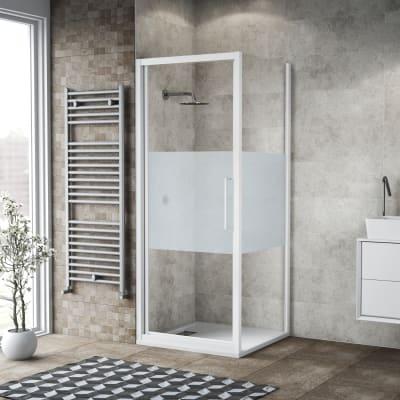Box doccia battente 90 x , H 195 cm in vetro, spessore 6 mm serigrafato bianco