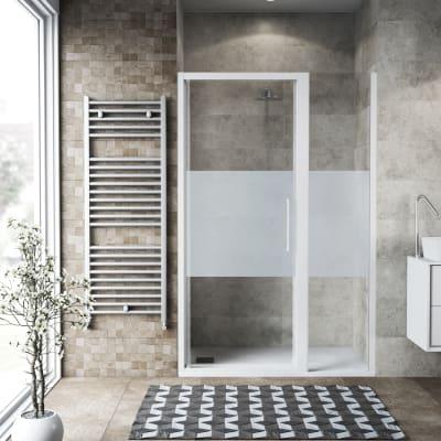 Box doccia battente 140 x , H 195 cm in vetro temprato, spessore 6 mm serigrafato bianco