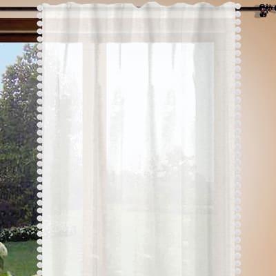 Tenda Pon pon grigio passanti nascosti 150 x 280 cm