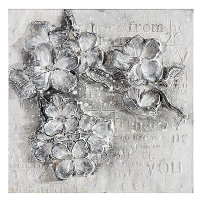 Quadro dipinto a mano Fiori Grigi 2 60x60 cm