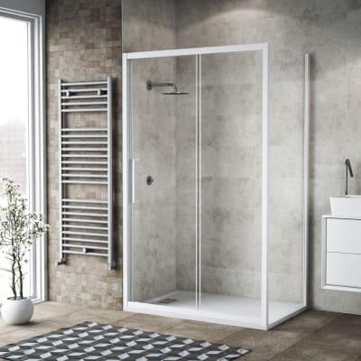 Box doccia scorrevole 140 x 80 cm, H 195 cm in vetro, spessore 6 mm trasparente bianco