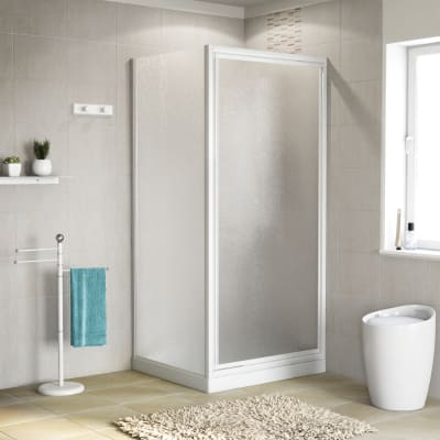 Porta doccia 70 x 80 cm, H 185 cm in acrilico, spessore 3 mm vetro di sicurezza piumato bianco