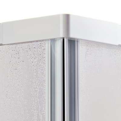 Porta doccia 90 x 80 cm, H 185 cm in acrilico, spessore 3 mm vetro di sicurezza piumato bianco
