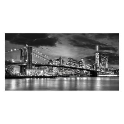 Quadro su tela Brooklyn Night B&W 140x70 cm