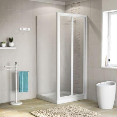 Porta doccia 80 x 80 cm, H 185 cm in acrilico, spessore 2 mm vetro acrilico piumato bianco