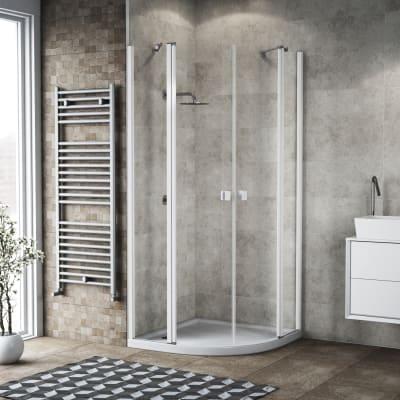 Box doccia semicircolare battente 99.5 x 100 cm, H 201.7 cm in alluminio e vetro, spessore 6 mm trasparente bianco