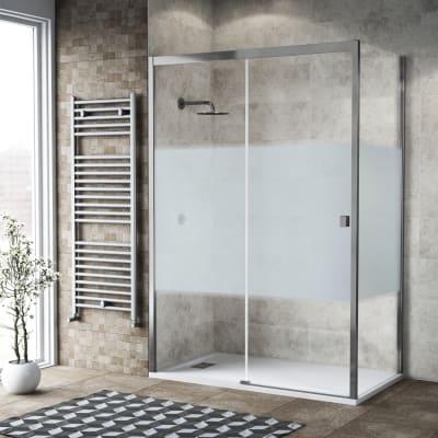 Box doccia scorrevole 145 x 80 cm, H 200 cm in vetro, spessore 6 mm serigrafato cromato
