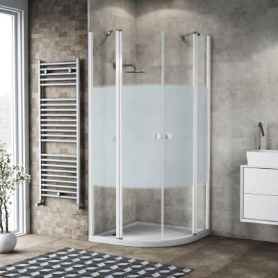 Box doccia semicircolare battente 79.5 x 80 cm, H 201.7 cm in alluminio e vetro, spessore 6 mm serigrafato bianco