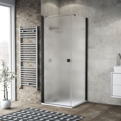 Box doccia battente 70 x 80 cm, H 200 cm in vetro, spessore 6 mm spazzolato nero