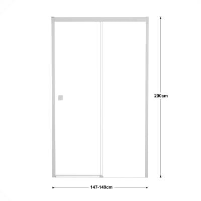 Porta doccia scorrevole Neo Plus 150 cm, H 200 cm in vetro temprato, spessore 8 mm trasparente bianco