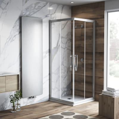 Box doccia quadrato scorrevole Namara 80 x 80 cm, H 195 cm in vetro temprato, spessore 8 mm trasparente argento