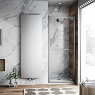 Porta doccia battente Namara 100 cm, H 195 cm in vetro temprato, spessore 8 mm trasparente argento