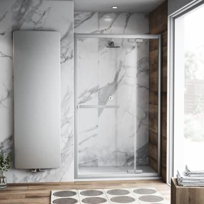 Porta doccia battente Namara 150 cm, H 195 cm in vetro temprato, spessore 8 mm trasparente satinato