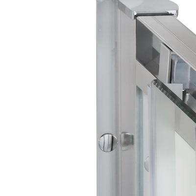 Porta doccia scorrevole Quad 100 cm, H 190 cm in vetro, spessore 6 mm brinato / trasparente argento