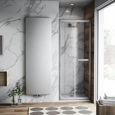 Porta doccia pieghevole Namara 100 cm, H 195 cm in vetro temprato, spessore 8 mm trasparente argento