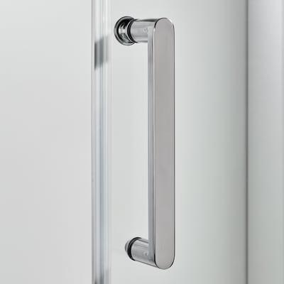 Porta doccia scorrevole Quad 140 cm, H 190 cm in vetro, spessore 6 mm trasparente argento