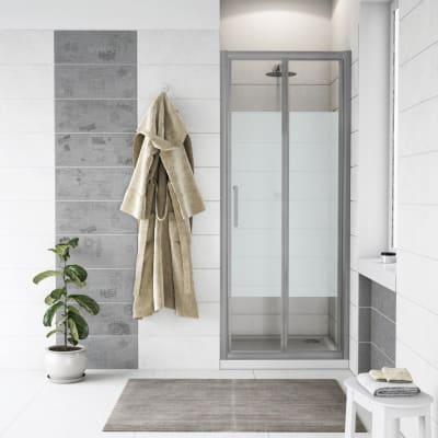 Porta doccia pieghevole Quad 80 cm, H 190 cm in vetro, spessore 6 mm serigrafato satinato