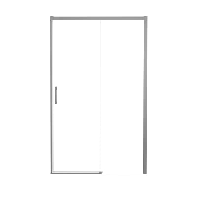 Porta doccia 1 anta fissa + 1 anta scorrevole Remix 170 cm, H 195 cm in alluminio, spessore 6 mm trasparente argento
