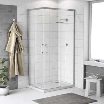 Box doccia scorrevole Remix 90 x 90 cm, H 195 cm in alluminio e vetro, spessore 6 mm trasparente cromato
