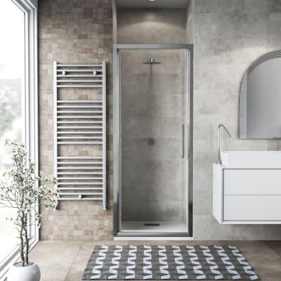 Porta doccia battente Record 82 cm, H 195 cm in vetro temprato, spessore 6 mm trasparente satinato
