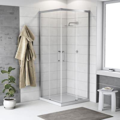 Box doccia scorrevole Remix 80 x 195 cm, H 195 cm in alluminio e vetro, spessore 6 mm vetro di sicurezza serigrafato cromato