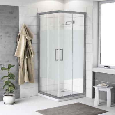 Box doccia scorrevole 70 x 70 cm, H 190 cm in alluminio e vetro, spessore 6 mm serigrafato argento