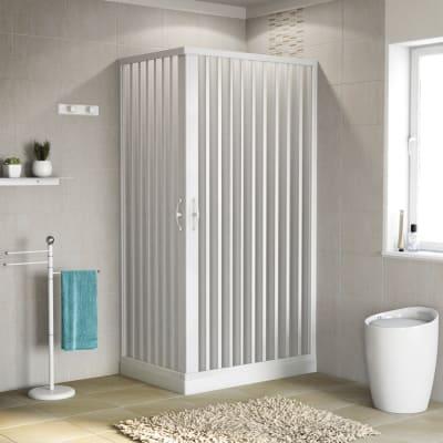 Box doccia rettangolare pieghevole Playa 70 x 100 cm, H 185 cm in pvc, spessore 2 mm serigrafato bianco