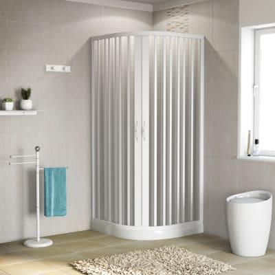Box doccia semicircolare scorrevole Playa 80 x 80 cm, H 185 cm in pvc, spessore 2 mm vetro di sicurezza serigrafato bianco