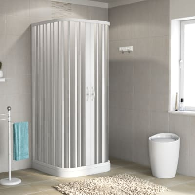 Box doccia quadrato 3 ante scorrevoli Playa 80 x 80 cm, H 185 cm in pvc, spessore 2 mm vetro di sicurezza serigrafato bianco