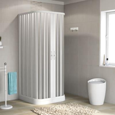 Box doccia quadrato Playa 80 x 80 cm, H 185 cm in pvc, spessore 2 mm vetro di sicurezza serigrafato bianco