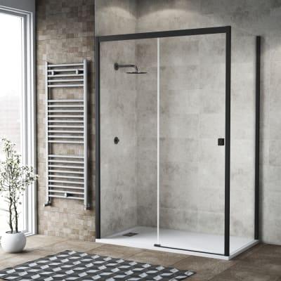 Box doccia scorrevole 160 x , H 200 cm in vetro, spessore 6 mm trasparente nero